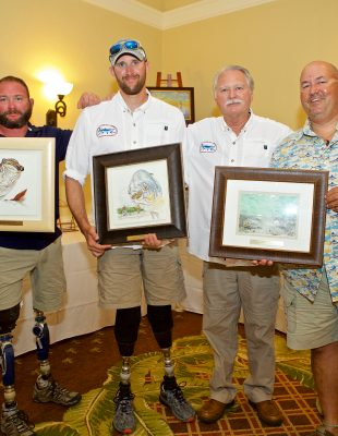 Grand Champion Team Anglers: US Army Sergeant Justin Burdette of Palm Bay, FL and US Marine Corps gunnery sergeant Travis Green of Canyon Lake Texas with Guide Mike Makowski