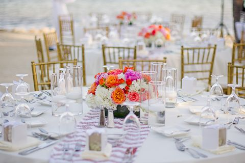 Close up shot of a table set up for a wedding reception