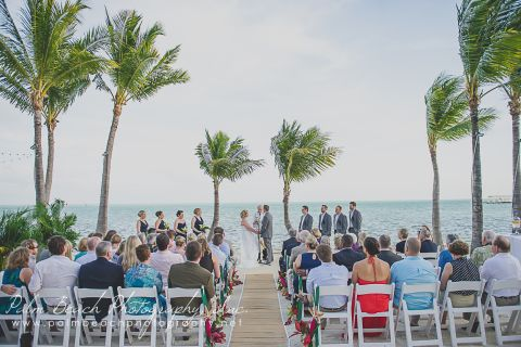 Wedding ceremony set up on the beach.