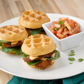 Chicken and Waffles with Tomato Salad